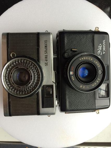2 Câmeras Fotográficas Antigas Yashica Me1 E Olympus Trip 35