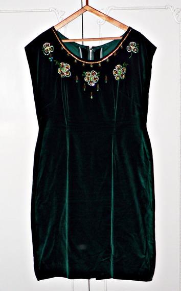 Vestido Terciopelo Verde Oscuro, Bordado A Mano - La Plata.