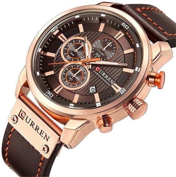 Relógio Masculino Luxo Funcional Pulseira D Couro Cronógrafo