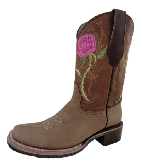 Bota Vaquera Rodeo Dama Piel Tombstone Col Tang Flores Rosas
