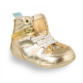 Tênis Botinha Bebê Dourado Menina Zipper Ortofino