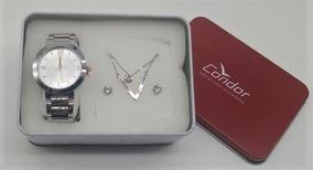 Relógio Condor Prata Visor Prata Com Dourado Co2035klo K3k