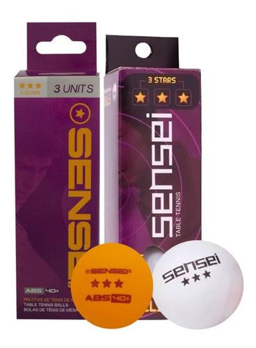 Pelotas Ping Pong Sensei 3 Estrellas 40mm Caja 3 Unidades