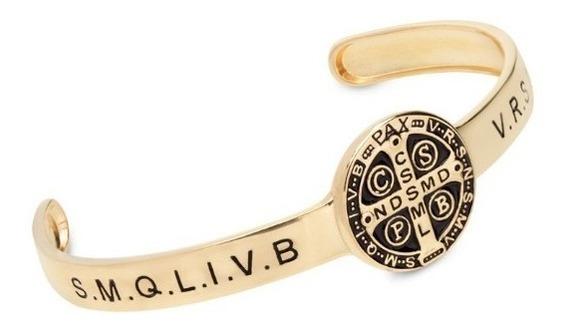 Bracelete Medalha De São Bento Ajustável Joia Folheada Ouro
