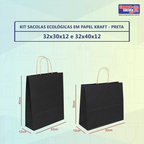 Imagem 1 de 2 de Kit Sacolas Papel Kraft M E G  100 Un Preto