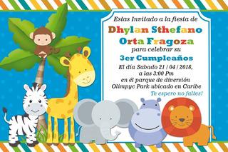 Tarjetas De Invitacion Safari Bebe En Mercado Libre Colombia