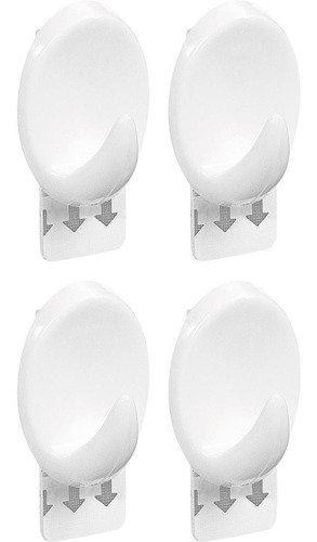 Conjunto 4 Ganchos Oval M Aplik 30111 Ordene Branco