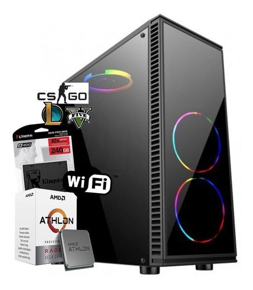 Pc Gamer Amd Athlon 200ge + 8gb + Ssd 240gb + Vga Vega 2gb