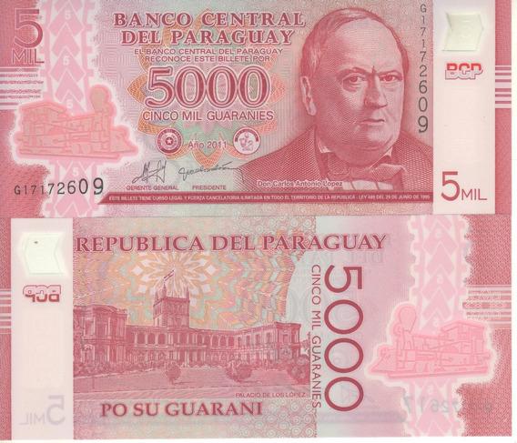 Paraguay Billete 5.000 Guaraníes Polímero 2011 - P 234 - Unc