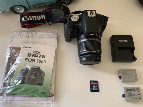 Camera Dslr Canon Eos T1i + Lente Orig. 18-55mm + 2 Baterias
