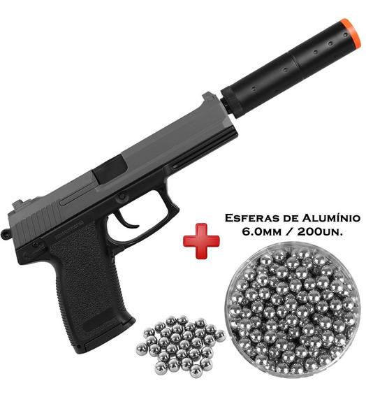 Pistola Airsoft Spring Usp M23 + Esferas Alumínio 6mm 200un