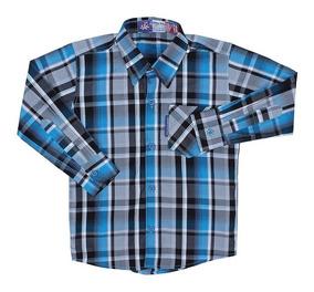 Camisa Infantil Masculina Manga Longa Xadrez Azul Rodeo West