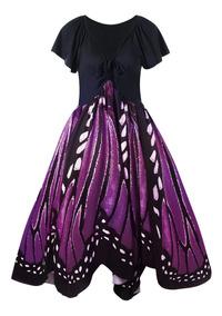 Vestido De Columpio Plus Size Estampado De Mariposa