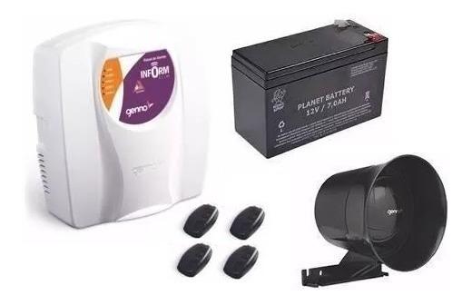 Central De Alarme Genno Slim 3 + Controle, Bateria E Sirene