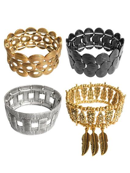 Bracelete Pulseira Dourado Prateado Com Pingente Feminino