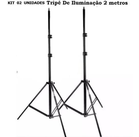 Kit / 2 Tripé 2 Metros P/ Iluminação P/ Leds C/ Baterias