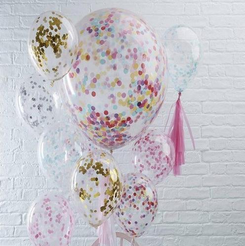 Globos Latex 12 Pulgada 30cm Confetti Fiesta Bubble