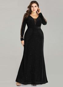Vestido Fiesta Negro Mangas Talla 8 10 12 14 16 Ep 126