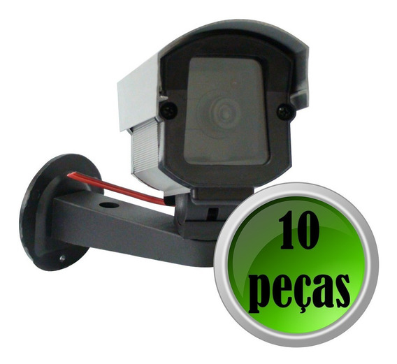 Kit 10 Camera Seguranca Cftv Falsa Bivolt Led Fake Bivolt