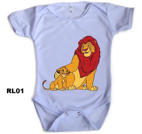 Roupa De Bebe Body Manga Curta Diversas Estampas Rei Leão
