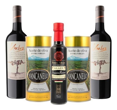 Imagen 1 de 6 de Aceite De Oliva Yancanelo  1l X2 + 1 Aceto + 2 Vinos