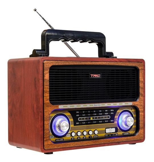 Caixa De Som Trc 213 Retrô 35w Rms Bluetooth Madeira
