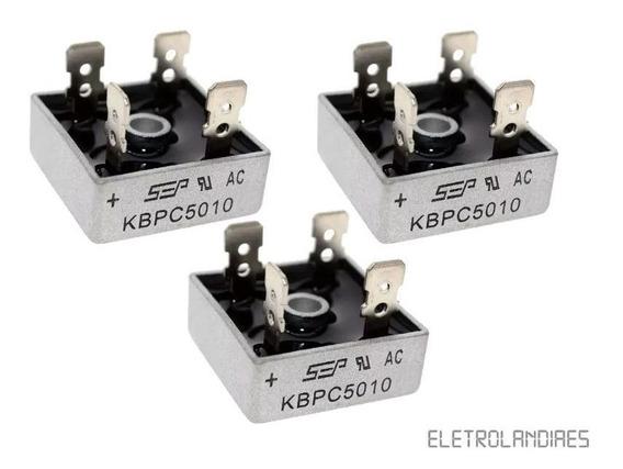 Kit 3 Pontes Retificadora Kbpc 5010 50a 1000v (carregador)