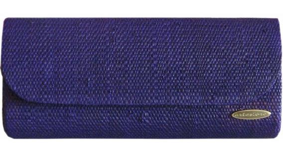 Clutch Bolsa Carteira De Mão Em Palha Natural Azul Coloridas