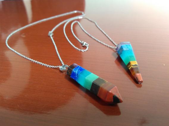 Pendulo De Cuarzo Natural- Energetico Colores 7 Chakras