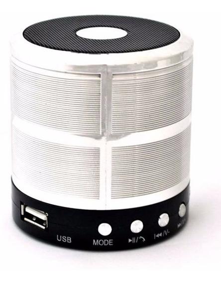 Mini Caixa De Som Portátil Para Celular Ws-887 - Prata