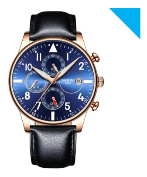 Relógio Original Nibosi Lançamento Couro Top Lxbr 06 Modelos