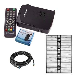 Kit Decodificador Tda Xt55 + Antena Nacional + Cable 10mts