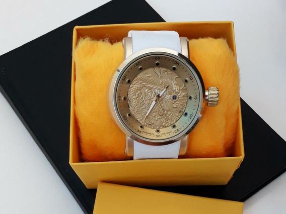 Relógio Masculino Branco Modelo Dragão Com Calendário + Caix