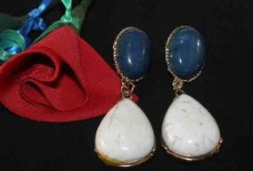 Brinco De Pedras Naturais Azul E Branco