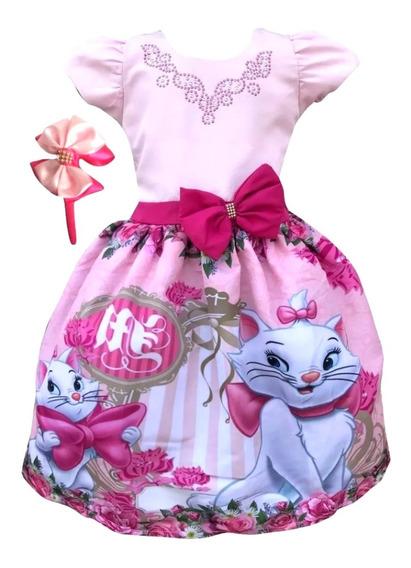 Vestido Gatinha Marie Disney + Tiara Brinde
