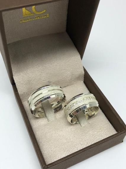 Par De Aliança Em Prata 950 Namoro/compromisso Modelo 1500