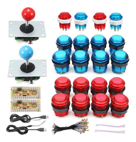 20 Pcs Diy Led Arcade Botões +2 Pcs Joysticks +2 Pcs Usb Co
