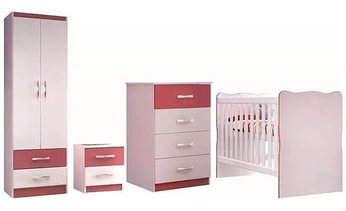 Juego Dormitorio Infantil Ropero - Cuna Cómoda Mesa De Luz