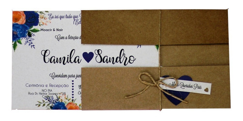 Imagem 1 de 6 de 55 Convite De Casamento Azul Barato Noivado Personalizado