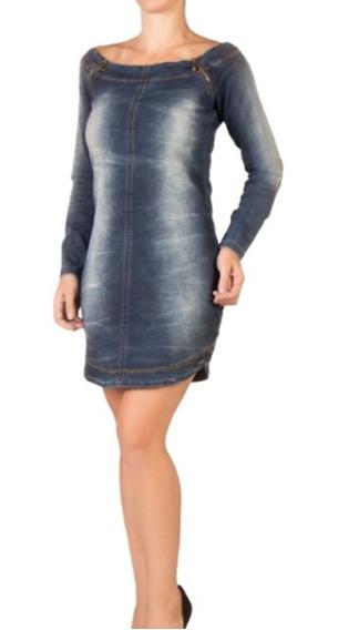 Vestido Jeans Feminino Manga Longa Inverno Alvo Da Moda