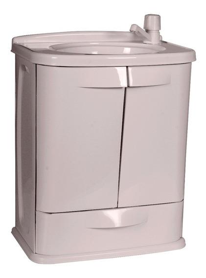 Gabinete Para Banheiro Com Pia Plastico Gabfit Cinza Claro