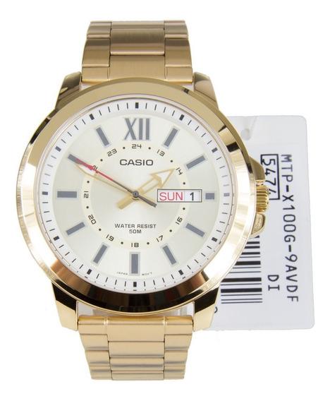 Relógio Masculino Casio Dourado Mtp-x100g-9a Aço Inoxidavel
