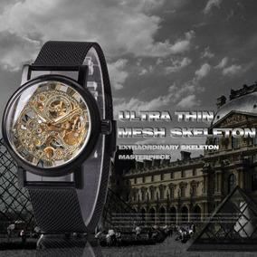 Relógio Skeleton Winner Mecânico Luxo Strap Thin Silver