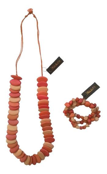 Collar Y Pulsera Isadora Mujer Naranja Y Degrade