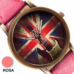 Relógio Vintage Bandeira Inglaterra Pulseira Tecido Rosa
