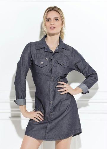 Vestido Camisão Jeans Escuro Evangélico Social Executivo
