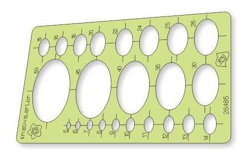 Imagem 1 de 3 de Gabarito Elipse - 5 A 50 Mm - Com 23 Tamanhos De Elipse