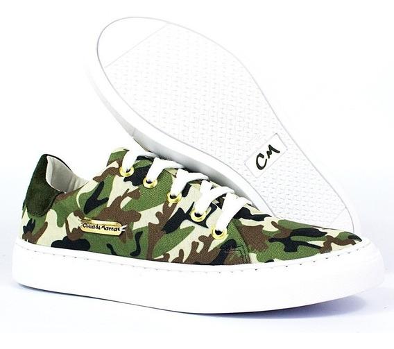 Tênis Feminino Esporte Fino Casual Camuflado Estilo Militar