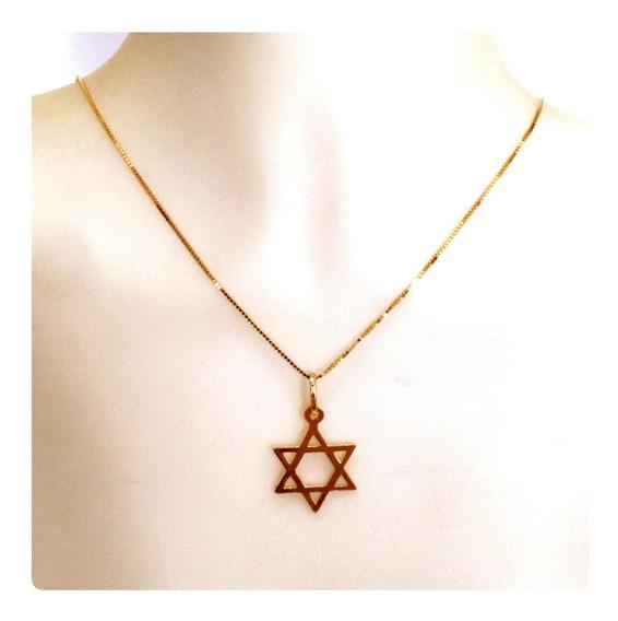Cordão De 60 E Pingente Estrela De Davi De Ouro 18k 750