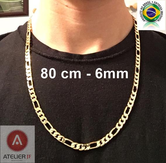 Corrente Cordão Figaro 2 Banhos De Ouro 18k - 80 Cm, 6mm